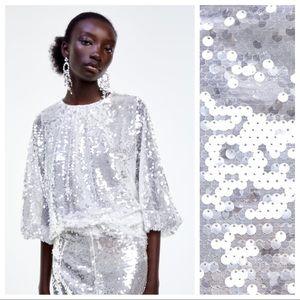 NWT. Zara Tonal Sequin Appliqué Blouse. Size L.